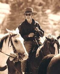 "Tom Kane on the set of ""Riders of the Purple Sage"""